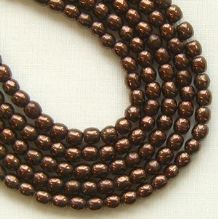 3mm Round Czech Glass Beads Dark Bronze - 100